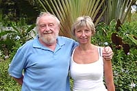 Owners, Cath and Ian,  Andromeda, botanical gardens, Barbados